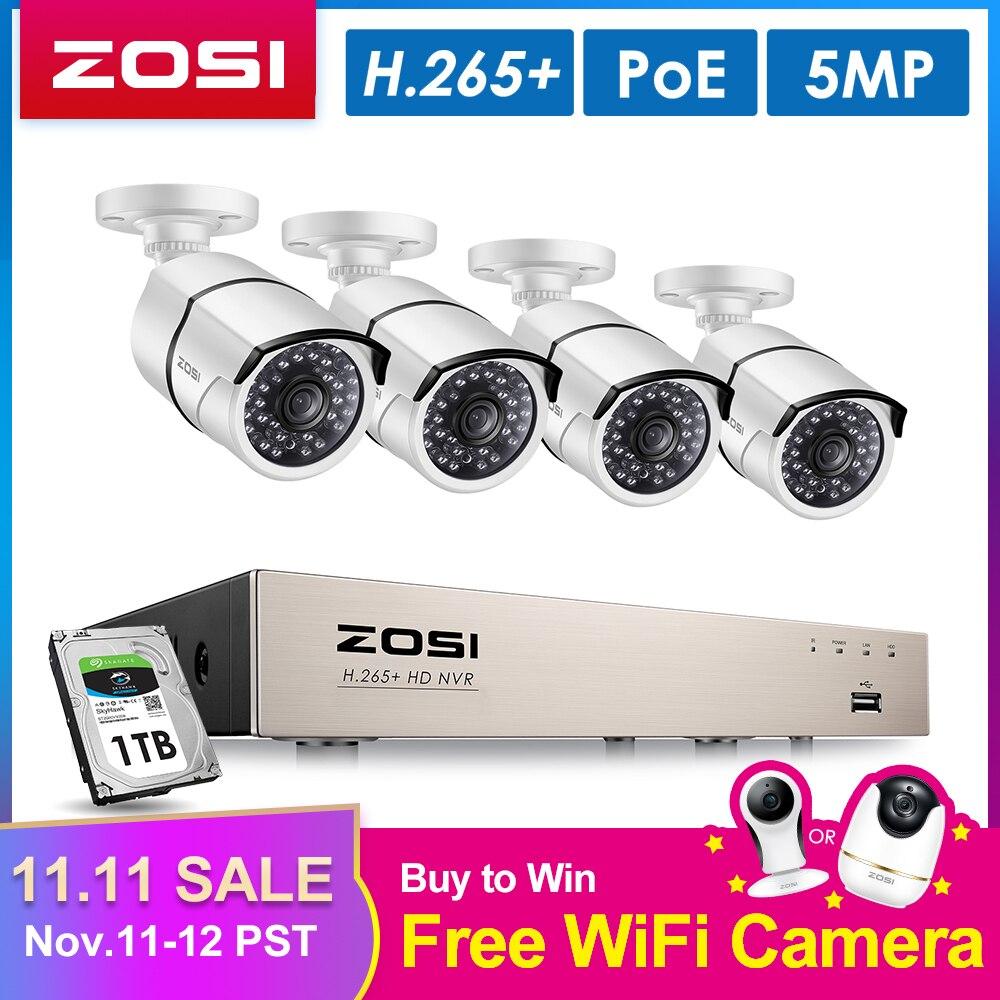 Zosi h.265 8ch 5mp poe sistema de câmera segurança kit 4 pçs 5mp hd ip câmera ao ar livre à prova dnvr água cctv vigilância vídeo nvr conjunto 1 tb