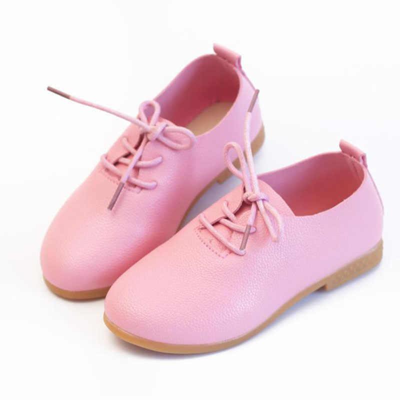 เด็กหญิงบริสุทธิ์สี pu รองเท้า bean ลูกไม้นักเรียนรองเท้าสีขาวสีชมพูสีดำสีเหลือง 21-36 TX10