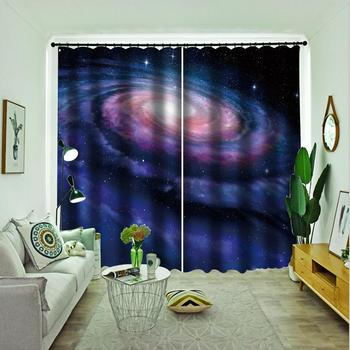purple stars curtains Customized size Luxury Blackout 3D Window Curtains For Living Room blackout curtains