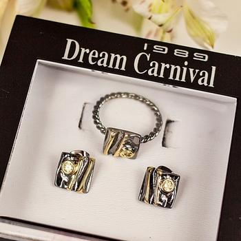 DreamCarnival1989 nowy przyjeżdża kwadrat geometryczny pierścień + zestaw kolczyków dla kobiet cyrkon Hot Pick randki Party biżuteria dziewczęca WE3961S2 tanie i dobre opinie Miedzi Kobiety Cyrkonia Neoklasyczny Gothic Ring + Earrings Kolczyki pierścień Moda Zestawy biżuterii Rocznica Plac Black Gold Color