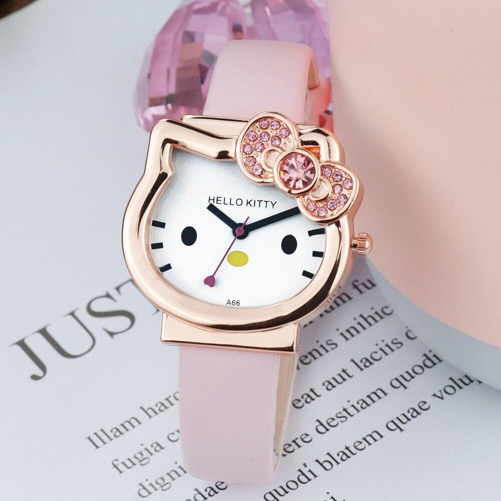 Hello Kitty милый мультфильм KT кошка дети% 27 часы кожа ремешок дети часы сетка ремень золото часы для ребенка многоцветный наручные часы