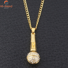 New fashion High quality silver Diamond-studded gold microphone pendant necklace