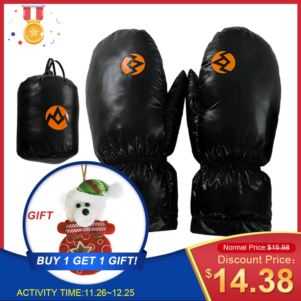 White Goose Down Gloves Winter Thermal Full Fingers Mitten For Outdoor Skiing Skating Snowboarding Cycling Hiking Camp Christmas