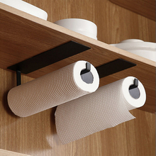 Kitchen Self-Adhesive Roll Rack Paper  Towel Holder Tissue Hanger Rack Nail-Free Cabinet Shelf Sundries Accessories