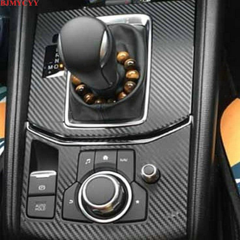 BJMYCYY Car Sticker 2PCS/SET Automobile Gear Panel Carbon Fiber Black Stickers For Mazda CX-5 CX5 CX 5 2017 2018