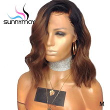 Sunnymay 13x4 Lace Front Human Hair Wigs 150% 1b/Brown Ombre Remy Hair Pre Plucked With Baby Hair Short Wavy Bob Lace Front Wigs