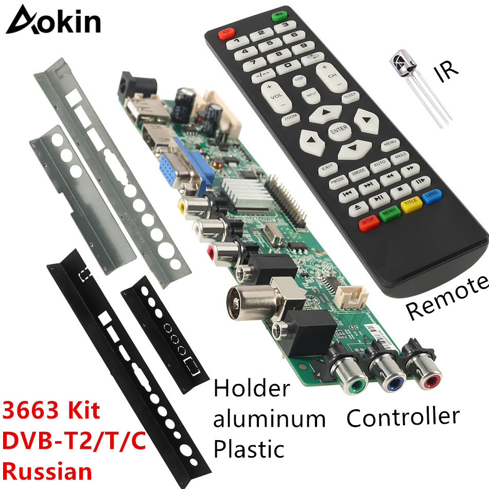 Aokin 3663 NEW Digital DVB-C DVB-T/T2 Universal LCD LED TV Controller Driver Board Iron Plastic Baffle Stand 3463A Russian