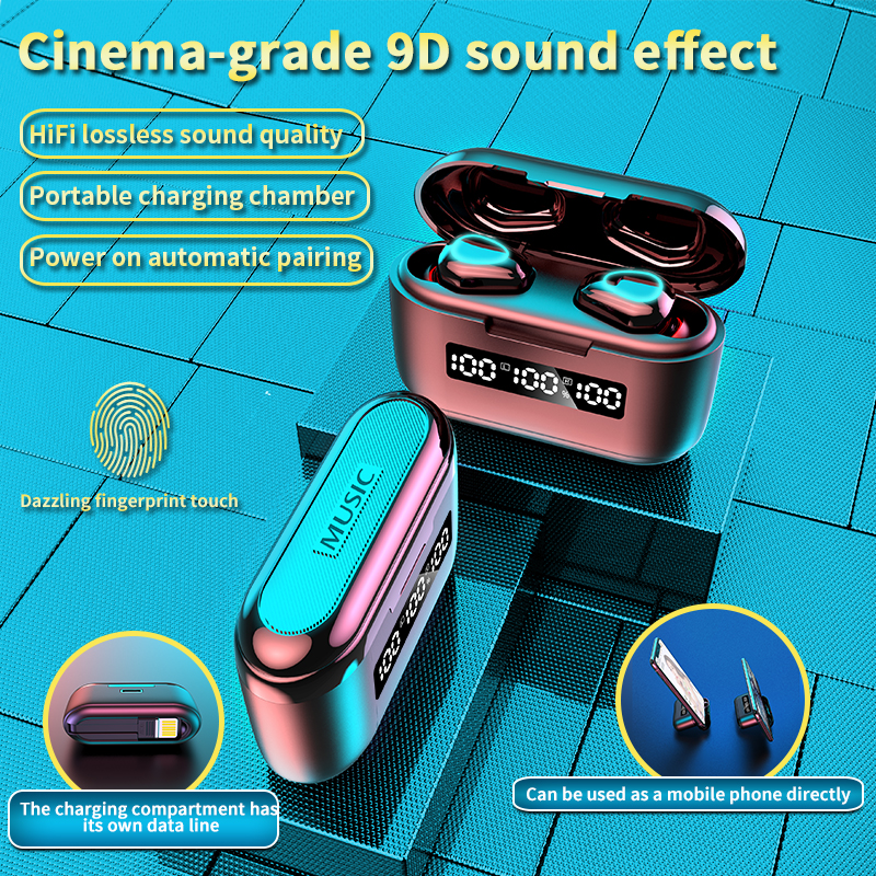 G40 Tws Bluetooth V5.1 Earphones Wireless Earbuds Touch 9d Sports Dual-Mic Hifi Stereo Sports Headset With 3500mah Charging Box