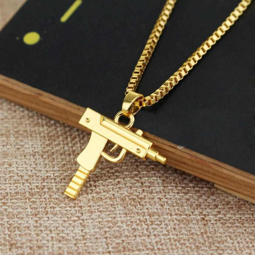 Arma forma colgante collar para hombres joyería de Hip Hop oro/Color negro ejército 2019 estilo de moda de hombre collares de cadena