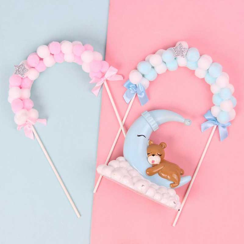 Hot Sale Pink Blue Soft Cloud Cake Top Flags Cake Topper For Baby Shower Festival Celebration Cake Decoration Party Supplies