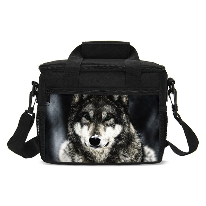 Small Lunch Bag For Boys Girls Starry Cool Animal Wolf 3D Printing Ice Bag Insulated Thermal Picnic Lunchbox Handbags Sac A Main
