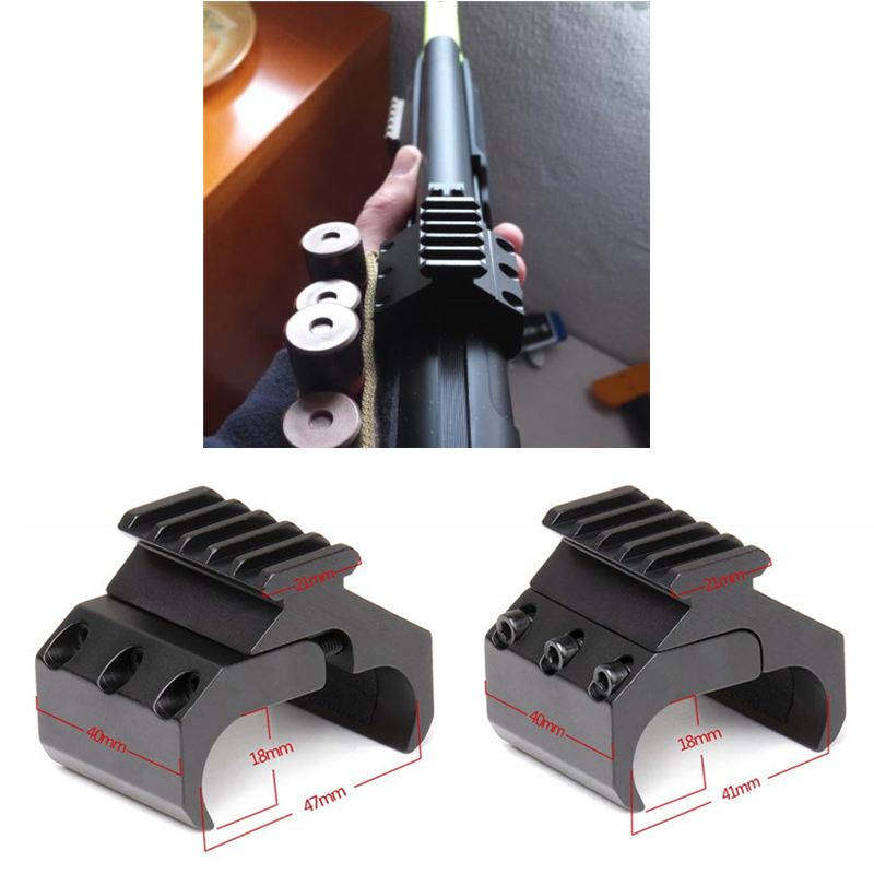 Double Barrel Clamp Mount with Standard Piticanny Rail 21m 5 Slots for Flashlight Laser Sight Scope Airsoft Airgun