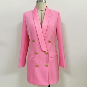 Image 4 - Alta qualidade mais novo 2020 designer elegante blazer feminino metal leão botões xale colarinho longo blazer jaqueta