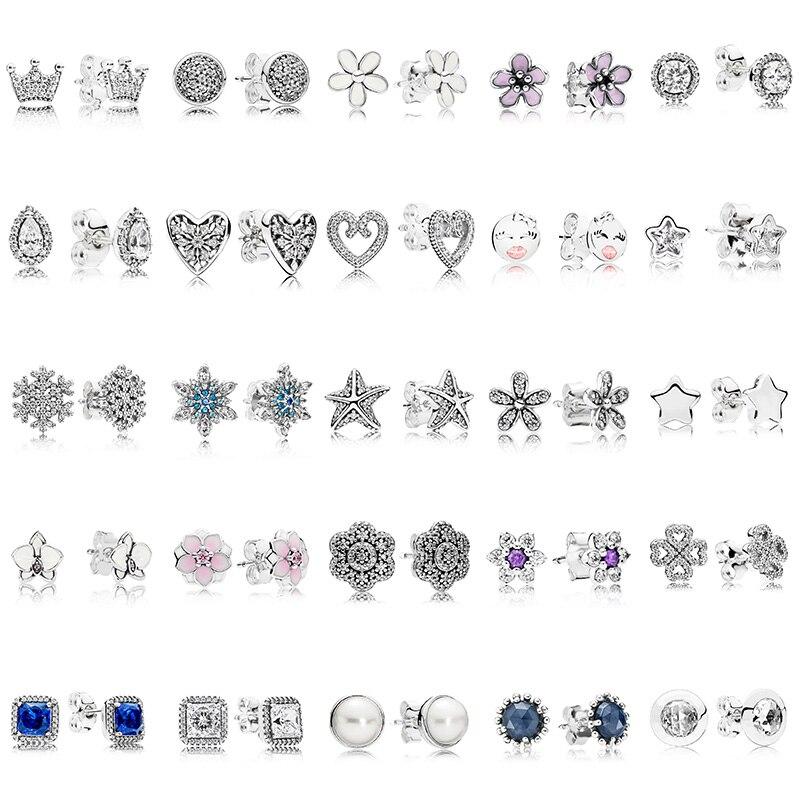 100% 925 Sterling Silver Pandoras Studs Earring Round Flower Heart Blue Crystal Studs Earring For Women Jewelry Gift