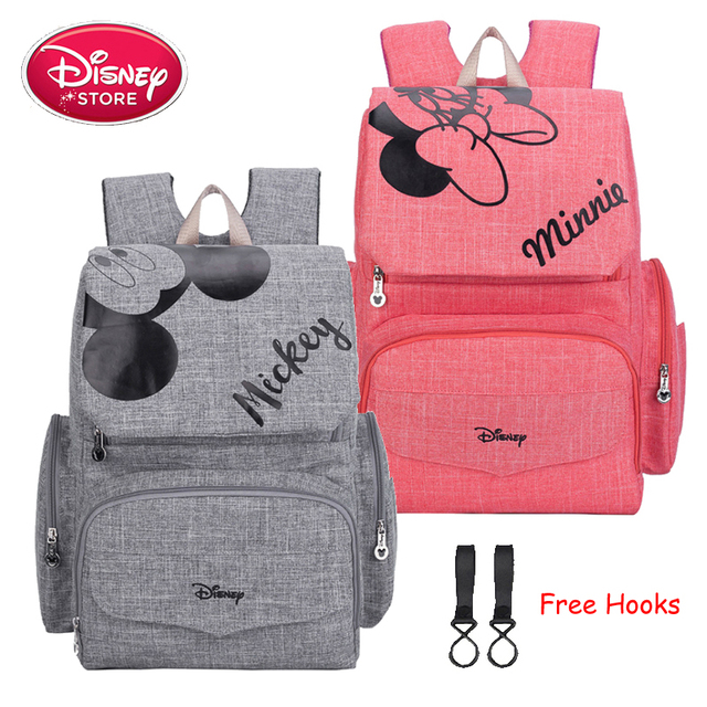 Disney حقيبة ظهر لحفاضات الأطفال برسومات ميكي وميني, حقيبة للأمهات، لحفظ أدوات رعاية الطفل، للسفر