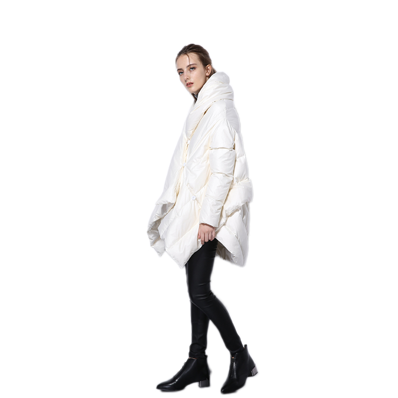 2019 New Fashion Women's   Down   Jacket Parka Cloaks European Designer Asymmetric Length Winter   Coat   Female