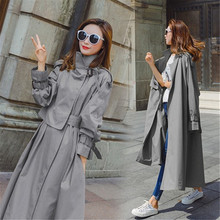 spring new Fashion 2020 Fall /Autumn Women Solid Casual Simple Classic Maxi Trench