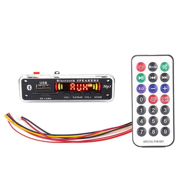 Módulo de Radio FM para coche, USB, TF, inalámbrico, Bluetooth, 5V, 12V, placa decodificadora MP3, WMA, con Control remoto