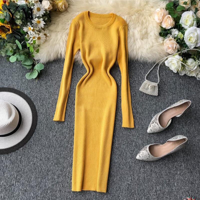 YuooMuoo 2019 Woman Brief Autumn Winter Sweater Dress Yellow Women Midi Knitted Dress Basic Pullover Long Sleeve Winter Dress