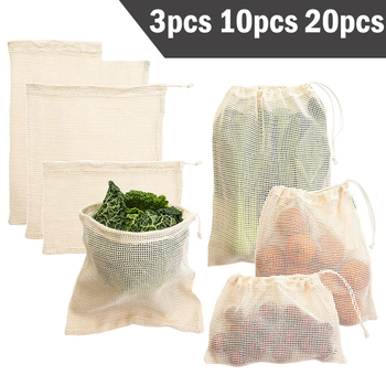 3 6 10pcs Reusable Produce Bags Set Eco Bag Cotton Mesh Vegetable for Fruit Storage Shopping