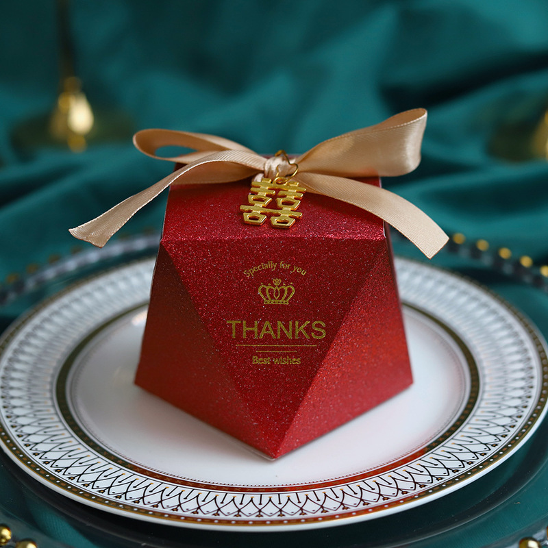 New Creative Burgundy Diamond Gift Bag Box for Party Baby Shower Paper Chocolate Boxes Package Wedding Favours candy Boxes-4