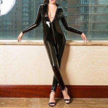 Catsuit Sexy de cuero de imitación para mujer, mono de látex de PVC con cremallera frontal y entrepierna abierta, body elástico, disfraces eróticos 1