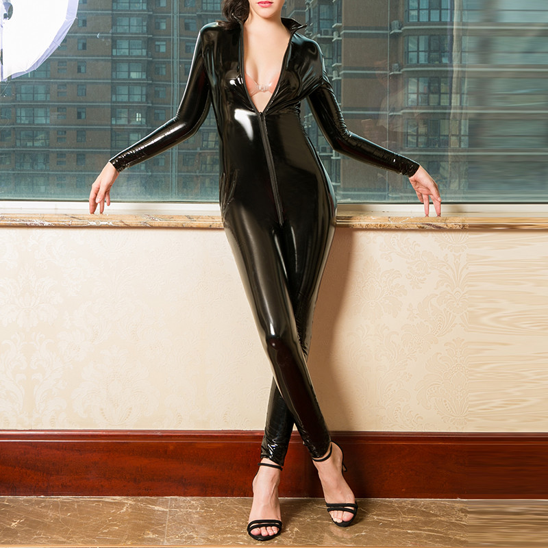 Sexy Hot Women Faux Leather Catsuit PVC Latex Bodysuit Front Zipper Open Crotch Jumpsuits Stretch bodystocking Erotic costumes
