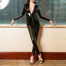 Sexy mulheres quentes do falso couro catsuit pvc látex bodysuit frente zíper aberto virilha macacões estiramento bodystocking trajes eróticos