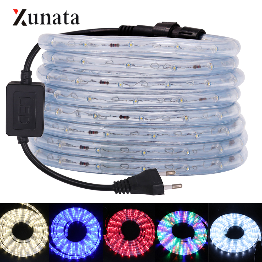 220V LED Neon Strip Round Two-wire LED Neon Sign 36LEDs/M Flexible LED Neon Light Waterproof Neon Tube For Decoration EU Plug