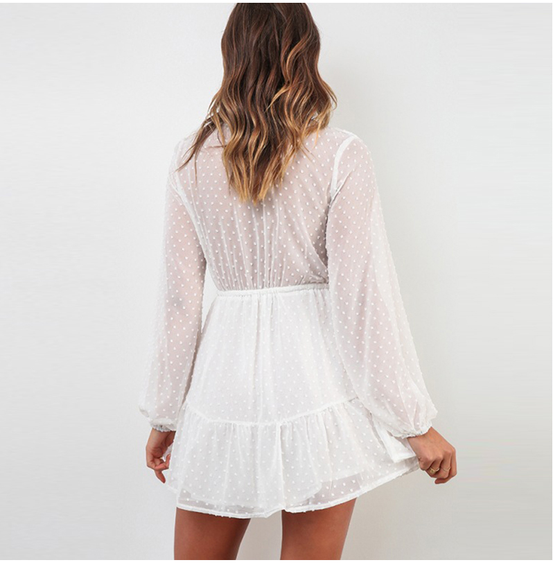 Elegant Ruffles Lace Up Long Sleeve White Mini Dress 3