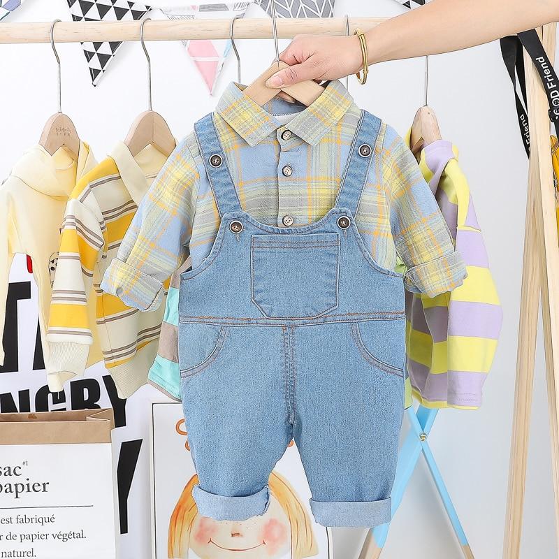 HYLKIDHUOSE 2020 Toddler Infant Clothing Sets Long Sleeve Plaid Shirt Bib Jeans Casual Style Girls Baby Boys Vacation clothing
