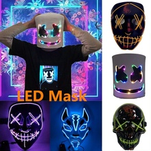 Hot Sale Halloween Scary Mask Cosplay Led Costume Light for Festival Party Props Dropshipping