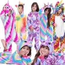 Зимние фланелевые пижамы с животными для мальчиков; детские пижамы; Детский костюм с единорогом и пандой; пижамы для девочек; Пижама с единорогом; одежда для сна