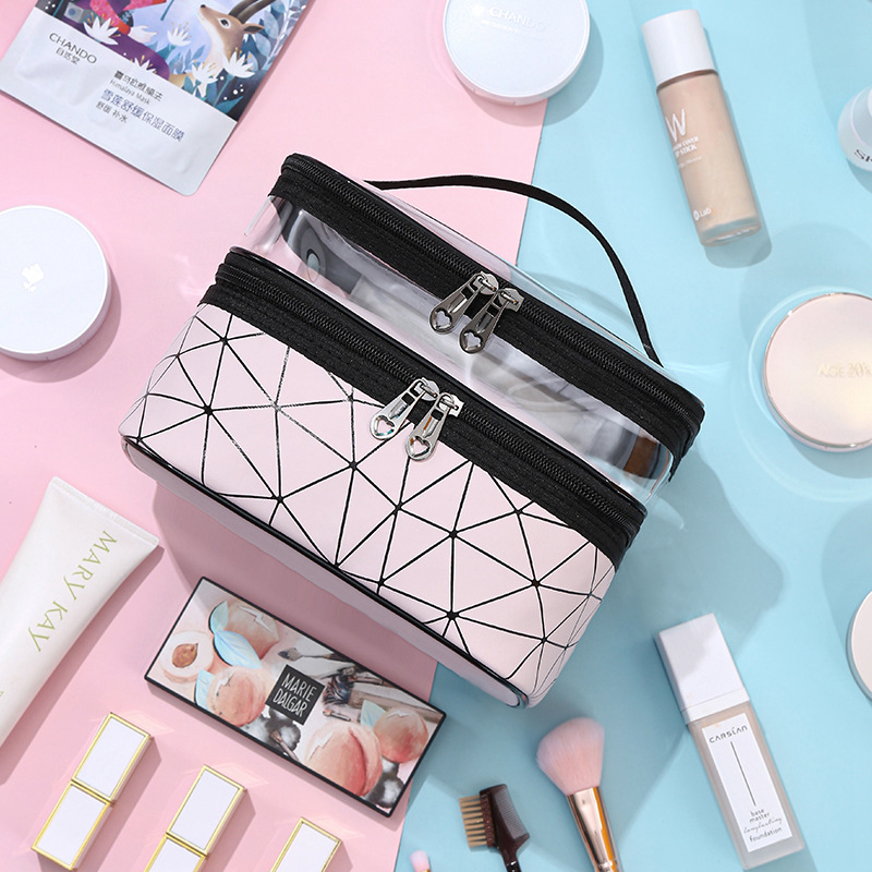 Multifunction Double Transparent Cosmetic Bag Women Make Up Case Big Capacity Travel Makeup Organizer Toiletry Beauty Storage