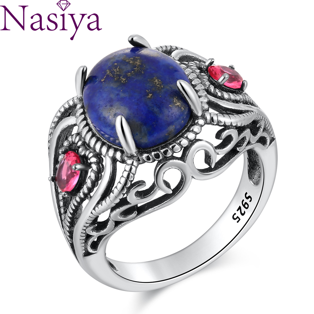 Luxury Antique Lapis Ring For Women Vintage 8*10mm Stone Engagement Ring Fine Jewelry Bohemian Silver Ring For Party Gift