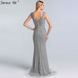 Image 3 - Dubai Grey Luxury Mermaid Design Prom Dresses V Neck Crystal  Beading Sexy Formal Gowns 2020 Serene Hill BLA60916