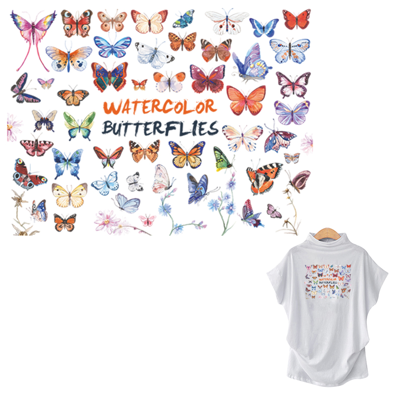Coloré papillon décor Patch ensemble lavable T-Shirt jean décoration transfert de chaleur bricolage nouveaux autocollants de mode robes de fille