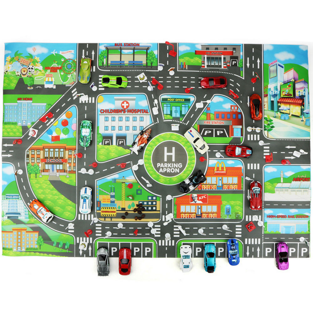 1pc Children Play Car City Map Non-Woven Fabrics With Route Parking Lot Street Vehicles Building Pattern For Kids Playing Toy