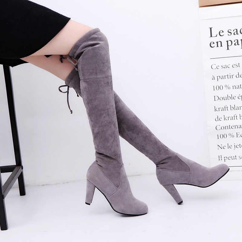 Тонкие женские облегающие высокие сапоги женские сапоги с круглым носком пикантные Сапоги выше колена на высоком каблуке из искусственной замши женская обувь зимние сапоги черного цвета