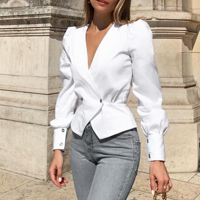 Aartiee Vintage Puff sleeve blazer blouse women 2019 Autumn V-neck Button long sleeve shirts female Sexy peplum White blouses
