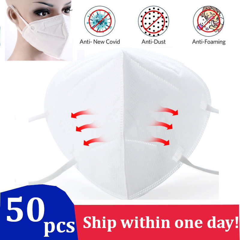 50Pcs KN90 4 Layers Protection Mask Anti-sneeze Face Mouth Dust Mask Filter Bacteria Proof Filtration Mask White KN 90 Safe Work