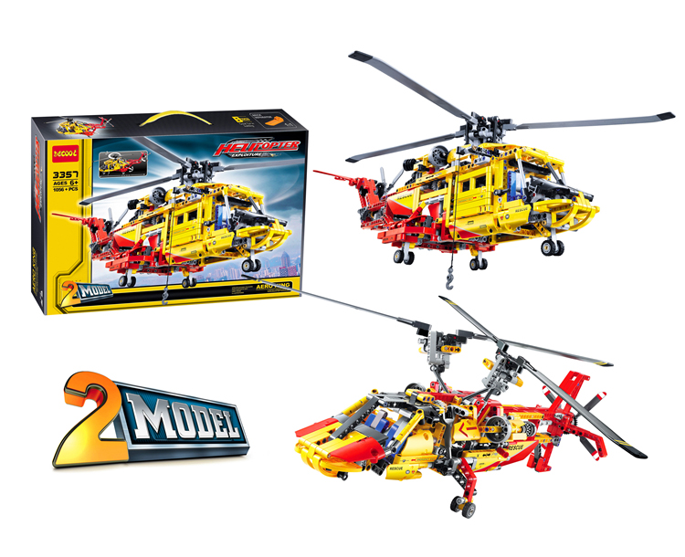 Image 4 - DECOOL TECHNIC 3357 CITY Rescue Helicopter 2IN1 Aircraft Plane Model Building Blocks Bricks Toys For Children Gifts lepinly 9396Blocks   -