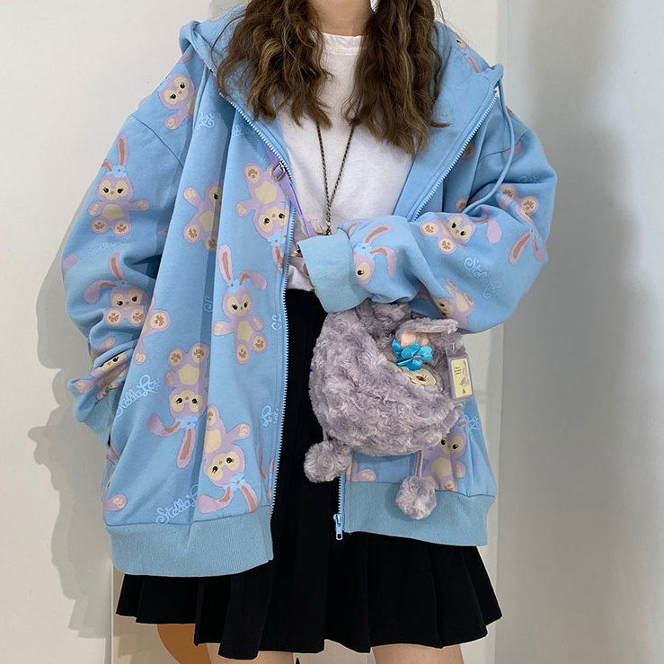 Zip-up hoodie Spring and summer Korean loose jacket women's baseball cool tide ins Harajuku style Japanese fried Sweatshirt 9