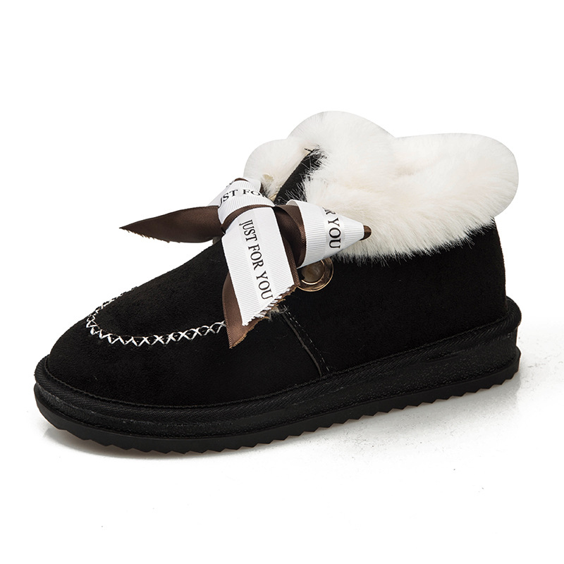 All-in-one snow boots,2019, new style, high-density, warm-keeping, anti-slip cotton shoes, bow and short boots. 36