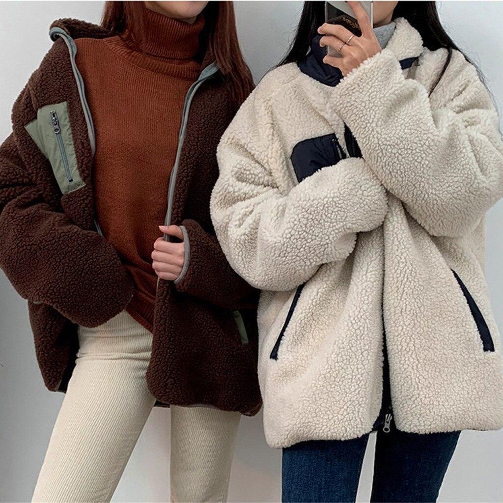 HSU 2019 Новое поступление женская верхняя одежда со стоячим воротником в стиле пэчворк Двухслойное пальто плюшевая куртка пальто для дам куртка женская Куртки      АлиЭкспресс