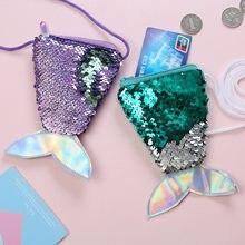 Рождественское украшение, элегантный женский кошелек с хвостом русалки, расшитый блестками, сумка-мессенджер для девочек, сумка-кошелек с о...