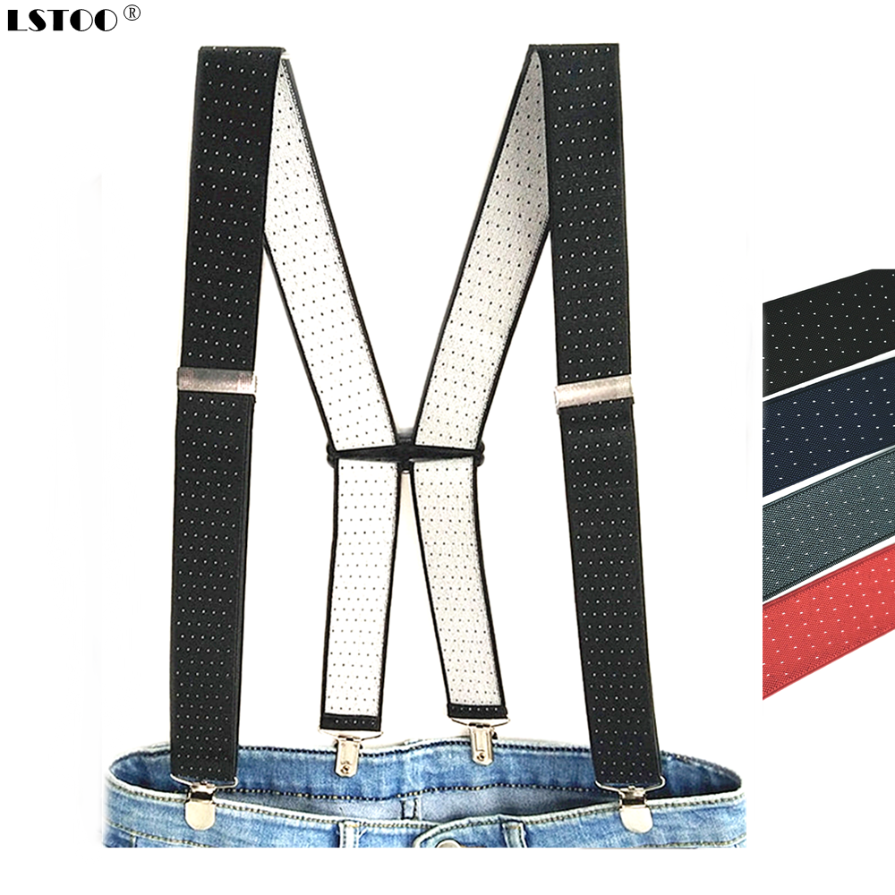 Clothing Accessories Adult Suspenders 3.5 Width 4 Clips Adjustable Elastic Dot Print Braces  X Back For Men Women Pants BD066