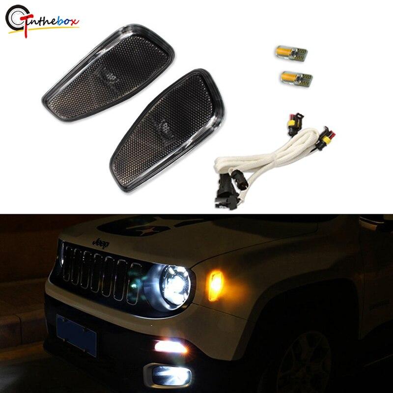 GTinthebox lentille fumée ambre LED lumières côté marqueur clignotant lampes Kit de mise à jour pour Jeep Renegade 2014-2018 2019 2 pièces Pack