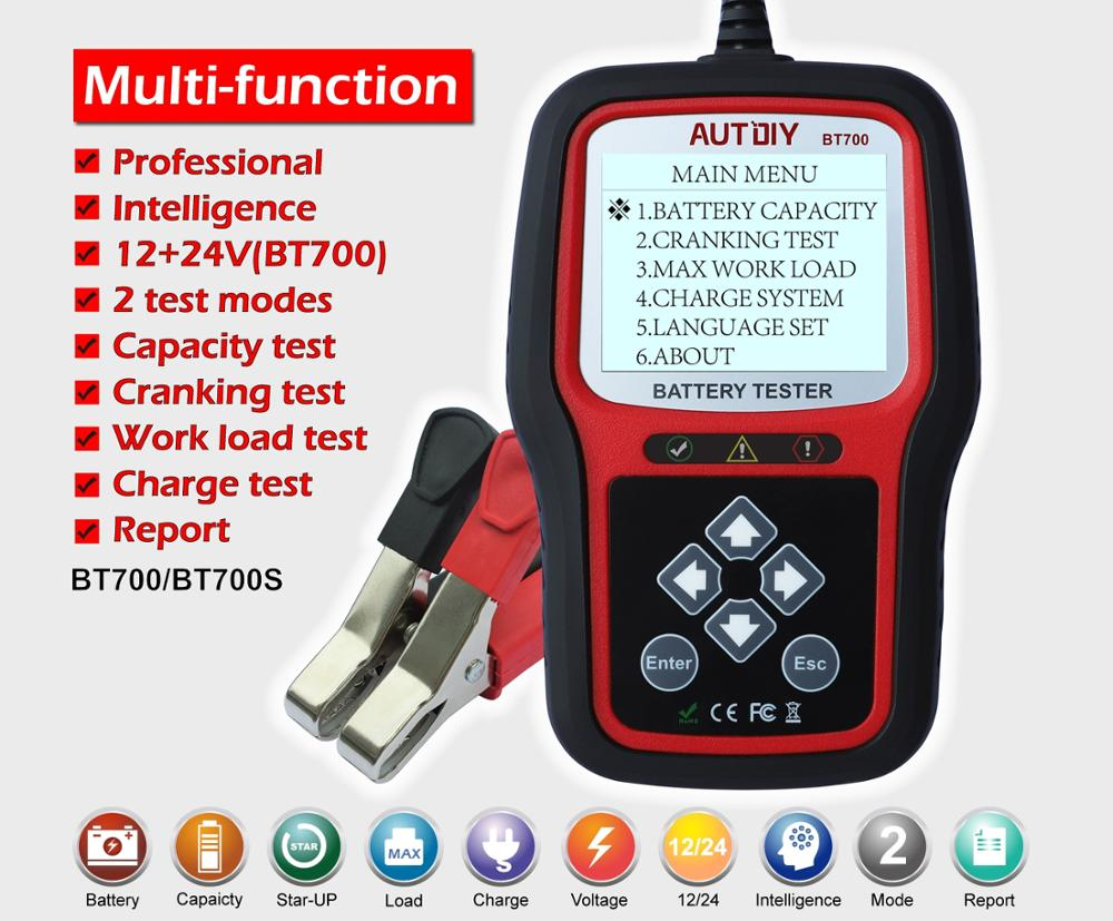 AUTDIY BT700 Car Battery Tester 12/24V Auto Battery Analyzer 2 Test Mode Quick/Accurate Vehicle Battery Diagnostic Tool PK BT705