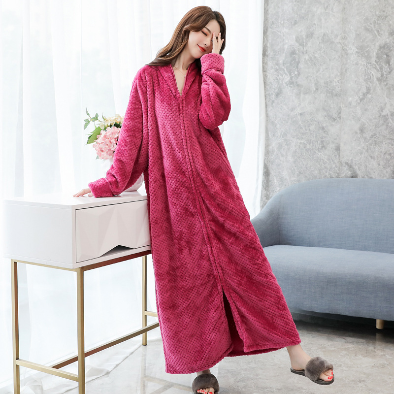 Flannel Lady Sleepwear Robe Gown Keep Warm Long Bathrobe Gown Casual Full Nightgown Homewear Exquisite Zipper Unisex Pajamas